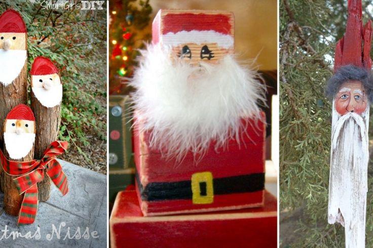 8 Modèles de Père Noël à bricoler avec du bois!