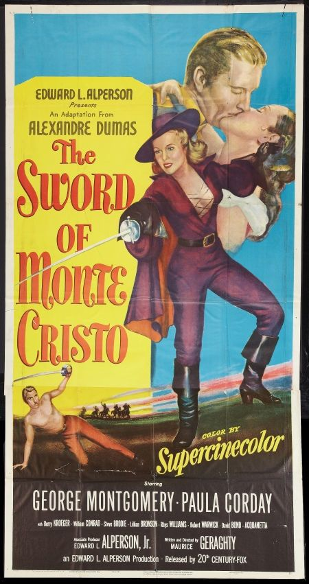 The Sword of Monte Cristo (1951). 1858 France, Emperor Louis Napoleon sends Captain Renault of the Royal Dragoons, Minister La Roche and Major Nicolet to Normandy in search of the members of a group of rebels. A Masked Cavalier, the niece, Lady Christianne, of the Marquis De Montableau, announces at a secret meeting of the Normandy underground leaders that the fabled treasure of Monte Cristo was willed to her and she will use it to finance their cause.  Down hill from there…