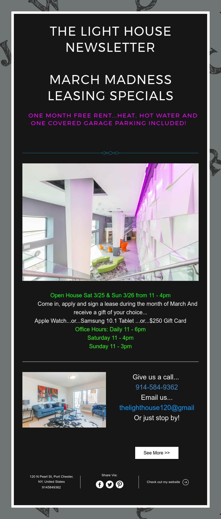 The light house newsletter march madness leasing specials one month free rent heat