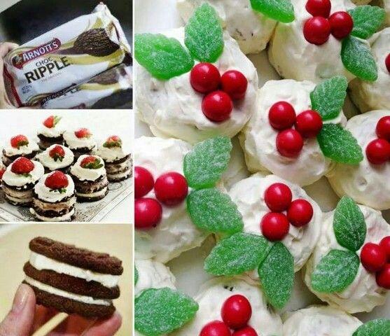 Individual choc ripple cakes. Cute idea for Christmas