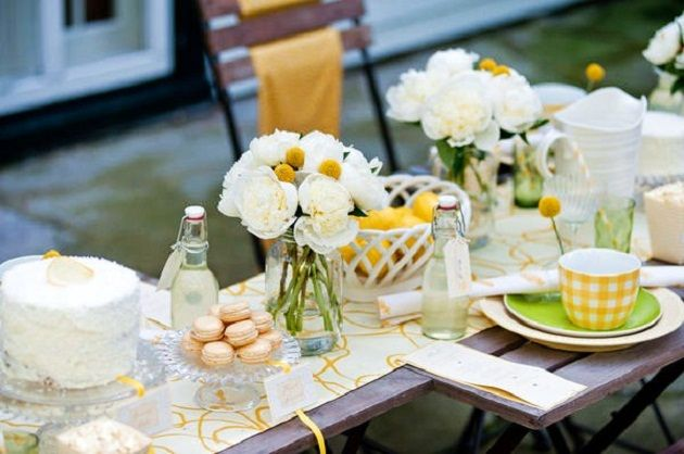 Bee Party - Centerpieces of white peonies and yellow craspedia ('billy balls')