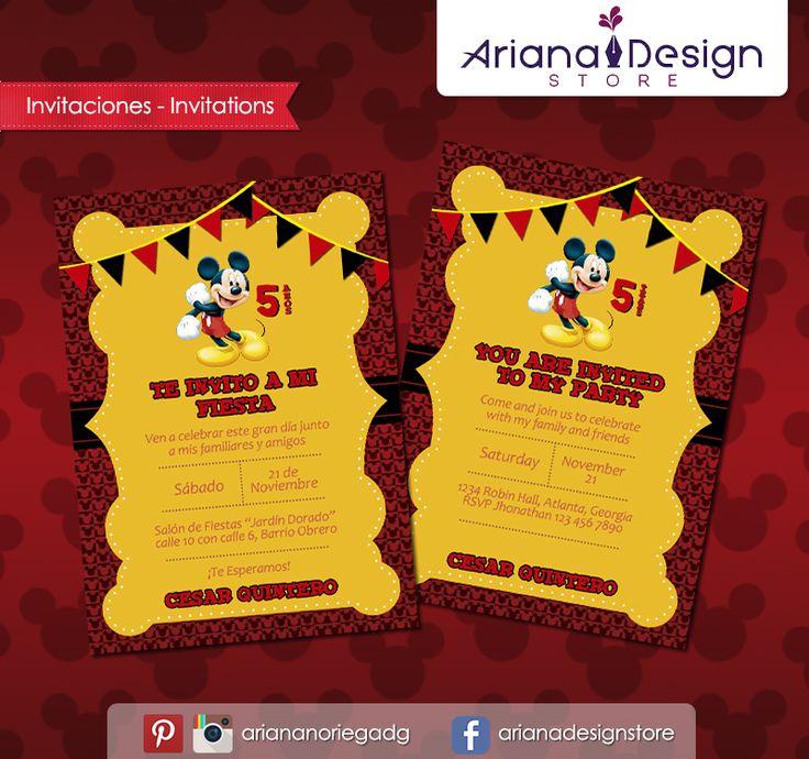 #printable #invitation #mickeymouse #mickey #arianadesignstore #invitacion #fiestainfantil #cumpleaños