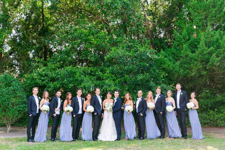 French blue/cornflower blue/periwinkle bridesmaid dresses + dark navy tuxedos | Summer Blue + White Island House Wedding by Charleston wedding photographer Dana Cubbage Weddings