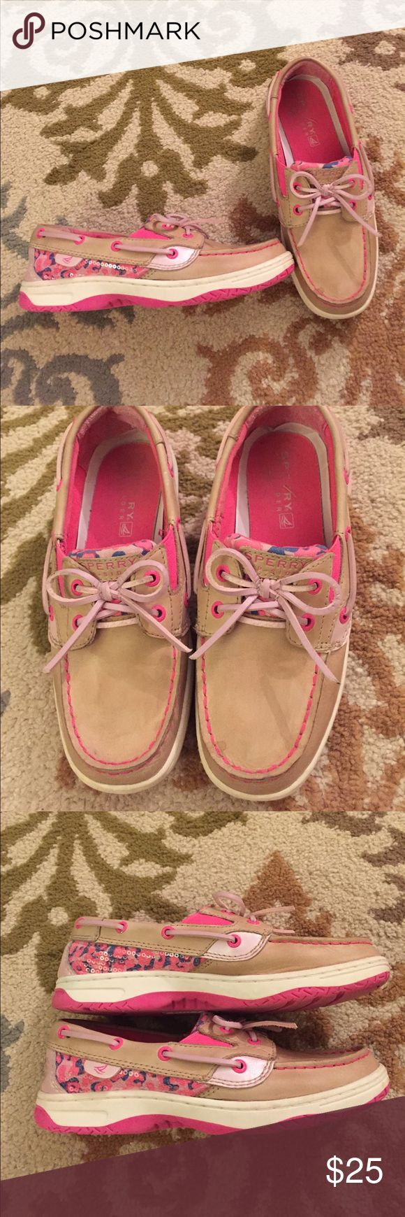 Girls Sperry Top-Sider shoes, tan and pink Girls Sperry Top-Sider shoes, tan and pink Sperry Top-Sider Shoes