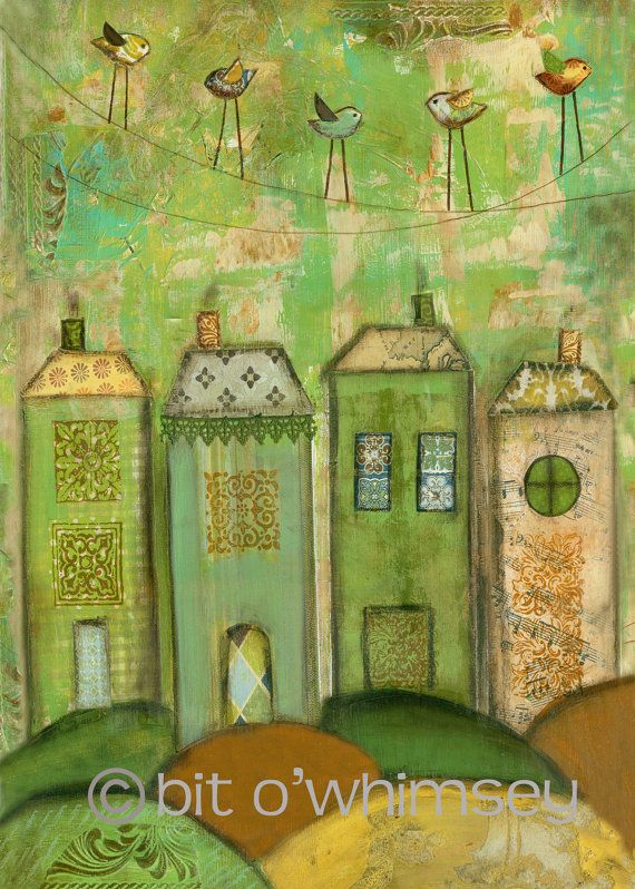birds eye viewGreen Houses, Art Mixed, Painting Art, Art Journals House, Mixed Media Painting, Mixed Media Art, Art Painting, Mixed Media Collage, Media House