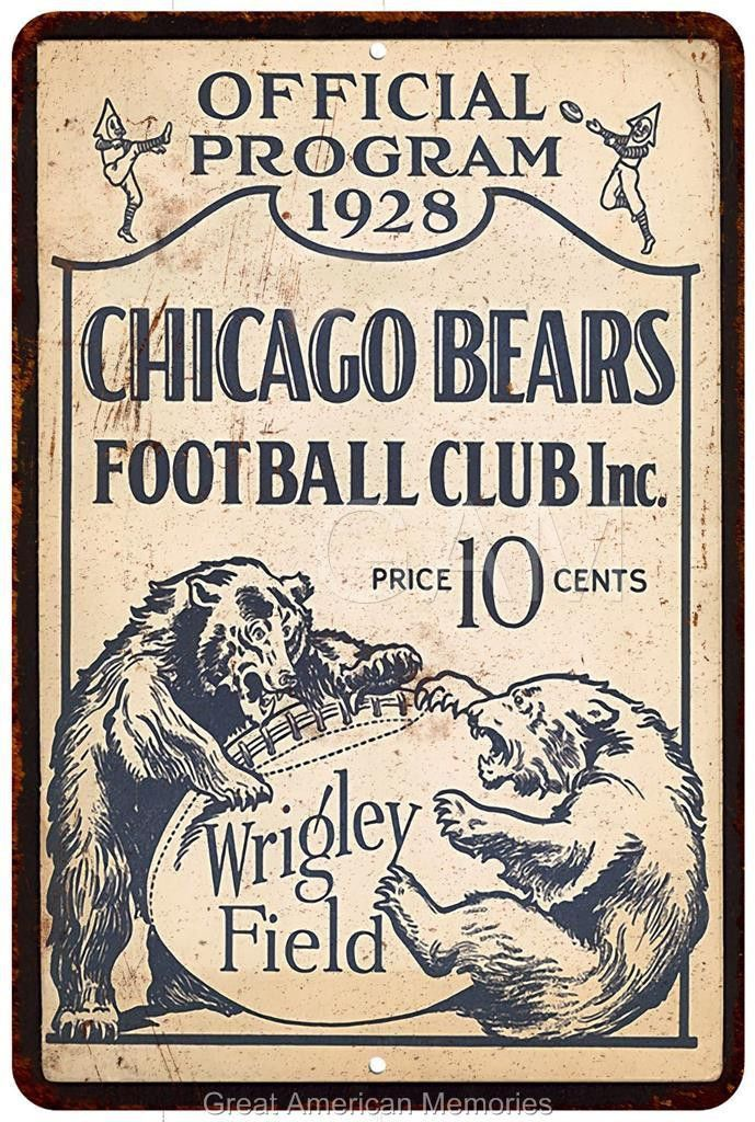 1928 Chicago Bears Football Program Vintage Reproduction Sign 8x12 8120450