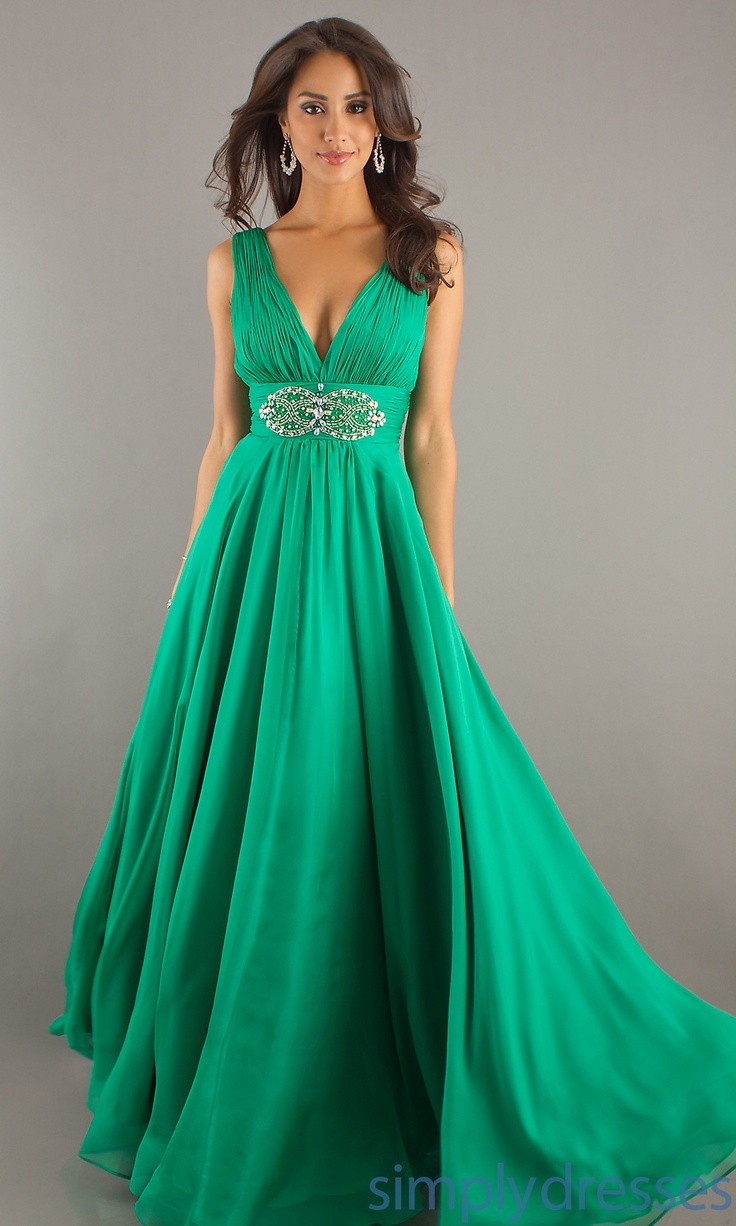 Long Deep V-Neck Evening Dress DJ-7425