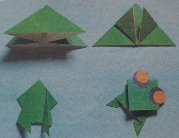 Оригами - лягушка, жаба, головастик