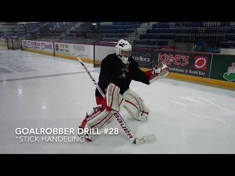 """This is a drill for goaltenders to utilize for improving their stick and stick handling. It's great exercise when goalies don't have a net open at practice or are waiting to get in net. Lastly, one can certainly take these drills to extra levels by lifting the puck, skating around cones between passes, or wrapping the boards for a stoppage behind the net and pass out to a defenseman.  Goalrobber Drill of the Week #28 """"Stick Handling"""""""