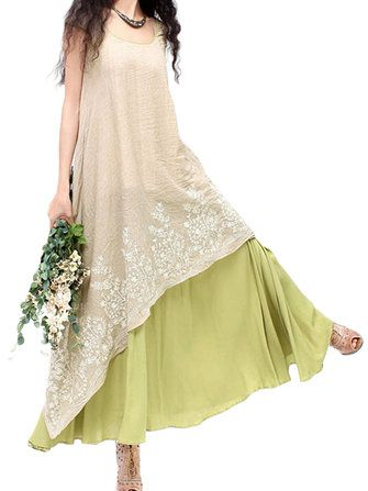 Only US$33.99 , shop Women Elegant Lace Embroidery Linen High Low Maxi Dress at Banggood.com. Buy fashion Vintage Dresses online.