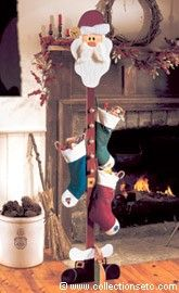 Santa Stocking Tree. Great idea if you don't have a fire place like me!