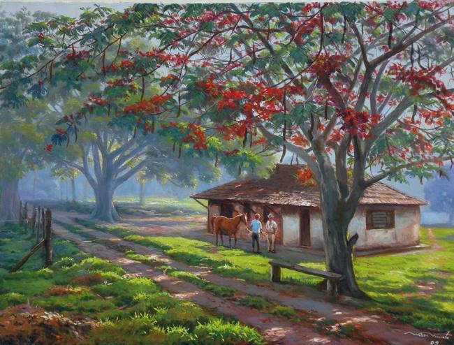 WILSON VICENTE - Paisagem com fazenda, 60 x 80