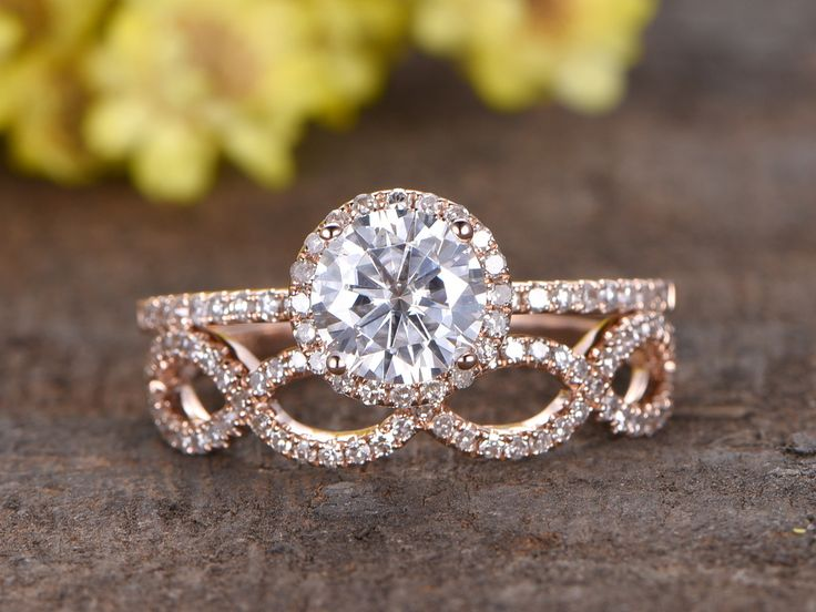 1.25 Carat Round Moissanite Wedding Sets 14k Rose Gold Diamond Bridal Ring Loop Infinity Stacking Matching Band