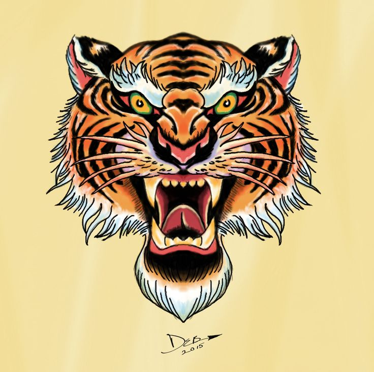 royal bengal tiger flash In the style of tattoo flash art. Sketchbook Pro 2015