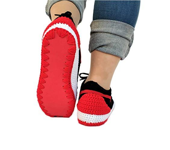 6727e724d0a Amazon.com  Crochet Air Jordan 1 Retro Basketball Flyknit Sneaker Custom  Jumpman Knitting Slippers