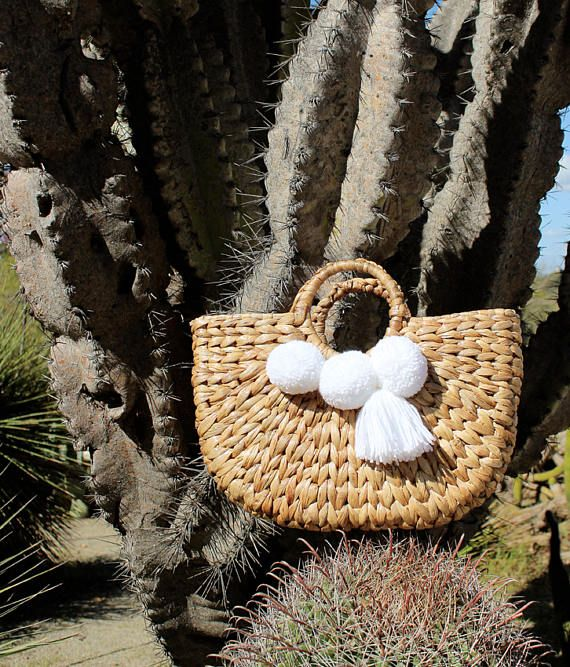 Brunna Beach Bag, Water Hyacinth Bag with White Pom-poms & Tassels, Woven Bag, Picnic Bag, Boho Beach Bag, Pom-pom Beach Bag, Straw bag