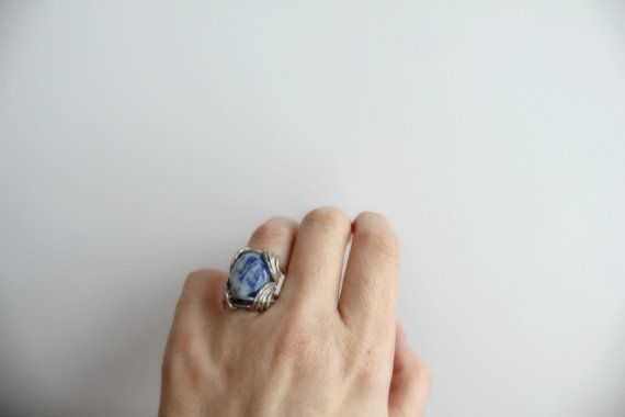 Sodalite Ring Sterling Silver Wire Wrapped Bohemian by storyleaf, $65.00
