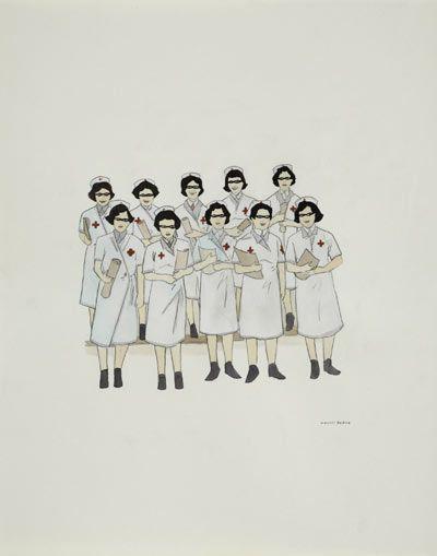 nurse grad', 2006 (ink and water colour on paper) marcel dzama at pinakothek der moderne