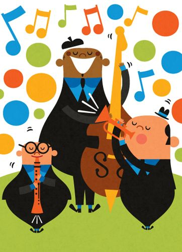 Title: Jazz Trio Illustrator: Steve Mack   All inquiries for images can be sent to:   Steve Mack Illustrator  steve@stevemack.com    Lori Nowicki   Painted Words Licensing Agent   lori@painted-words.com