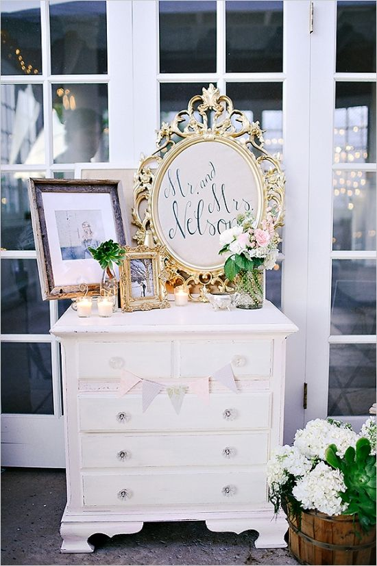 vintage wedding decor: this entire wedding is awesome!! love the new last name on the mirror!!!