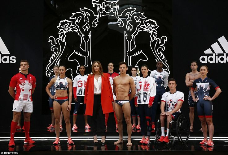 new Team GB kit for Rio Olympics designed by Stella McCartney Stella McCartney poses with British athletes including Ennis-Hill (second from left) and Tom Daley (fourth from left) and Laura Trott (right)