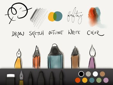 Paper    For once, look good on Paper. Jot ideas, doodle, and sketch on a digital blank canvas and, no matter your skill level, be pleasantly surprised by the artistic outcome. Get started for free and add new tools for two bucks.    Available (for the iPad) at itunes.com, free.