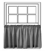 "Custom 50"" Wide Tailored Tier Curtain Panel - Group B - paisley blue fabric -Valdosta Mist for bathroom curtains"
