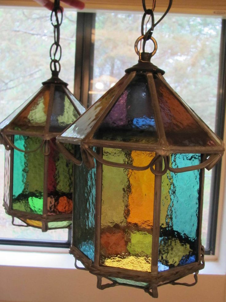 Antique Arts And Crafts Whimsical Gothic Multi Colored Hanging Light Pair