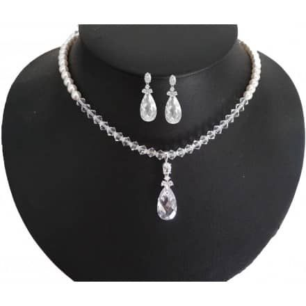 Echtsilber Kristall Perlenschmuck zur Hochzeit auch im Set - Brautschmuck - Zuchtperlen
