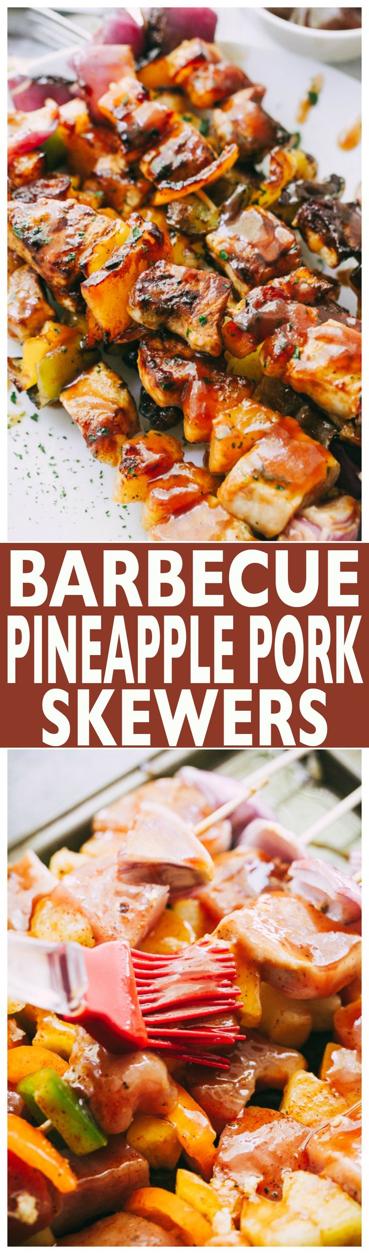 Barbecue Pineapple and Pork Skewers – Stacked with pork, sweet pineapples, and veggies, these juicy barbecue pork skewers are simple, incredible, and SO darn flavorful!