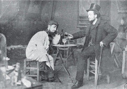 Toulouse-Lautrec photos Toulouse Lautrec and Lucien Metivet drinking absinthe circa 1885