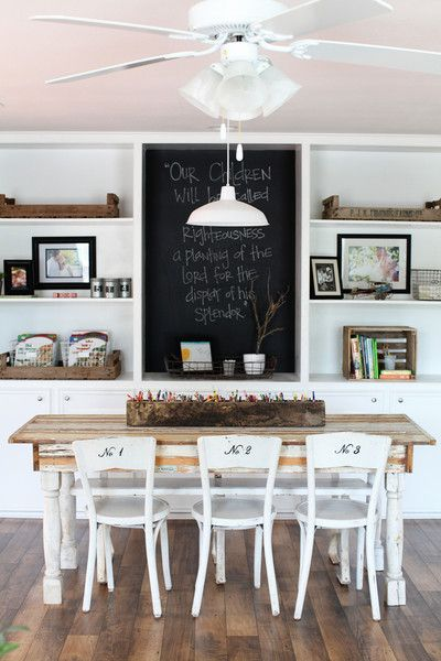 chalk board wall. love the numbers on the chairs too!!Joannas Home | The…