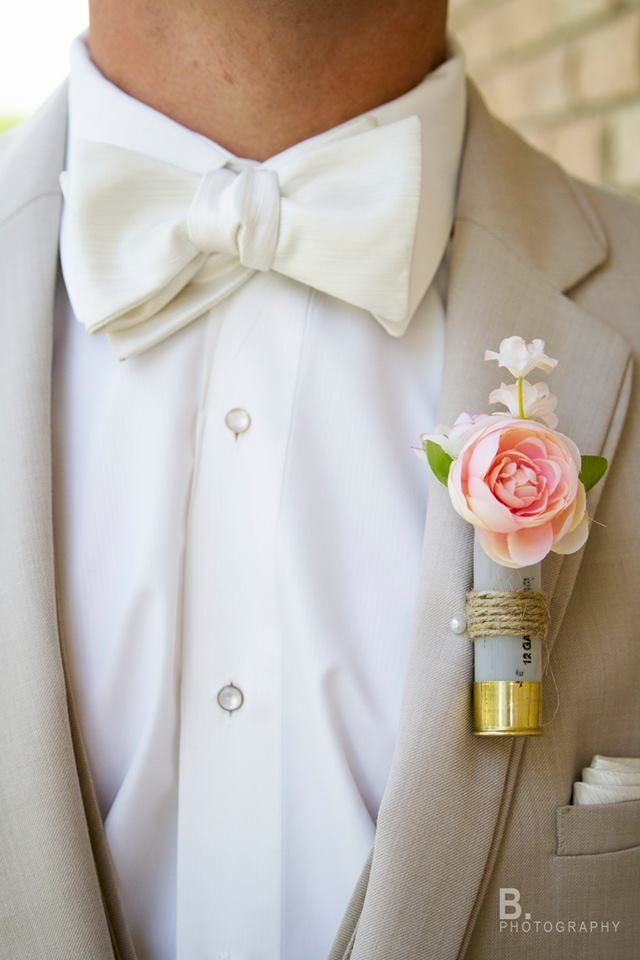 Shotgun Shell Boutonniere | Marshall, Minnesota ©2014 B. Photography - Bethany Bakker #BPhotography #Wedding