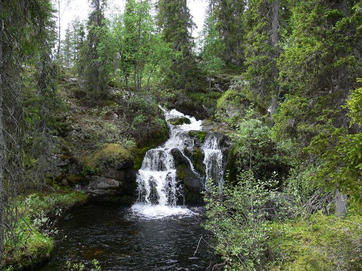 Kullaojan nimetön vesiputous on kaunis portaittainen köngäs Sallan Naruskassa Itä-Lapissa.