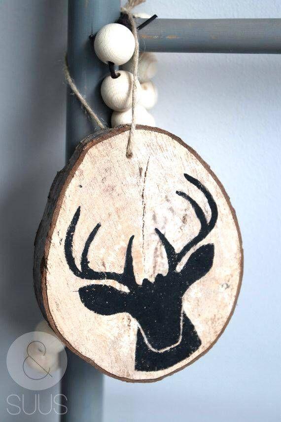 Hanger kerst hout afdruk zwart hertje