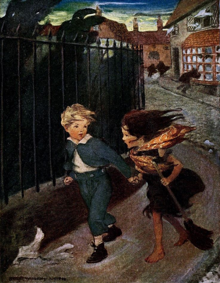 """Illustration by Jessie Willcox Smith from """"At the back of the North Wind"""" by George MacDonald (1919)"""