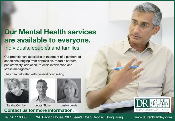 Our Mental Health services are available to everyone.  Individuals, couples and families @ Dr. Lauren Bramley & Partners, Hong Kong —  www.laurenbramley.com/service/mental-health/
