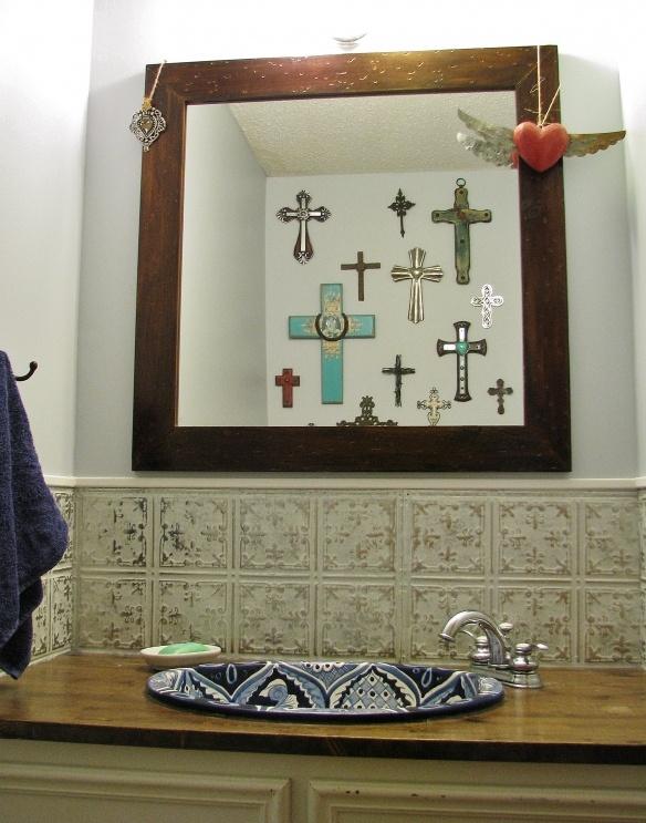 u003c3 this bathroom tin tile back spalsh talavera sink crosses mexican