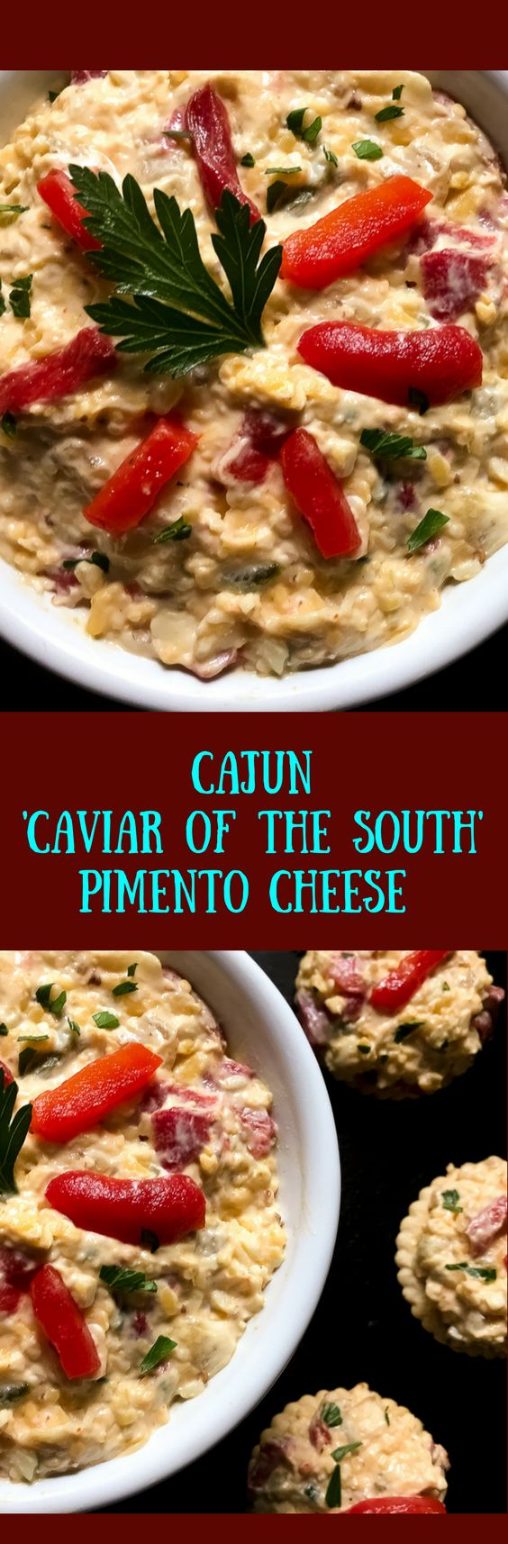 Creole mustard, pickled okra, and the Cajun 'trinity' of onion, green bell pepper, and celery inject a signature spin on the classic recipe. Naturally gluten free, Cajun 'Caviar of the South' Pimento Cheese from A Sprinkling of Cayenne tastes great with crackers, chips, and cut-up veggies. | http://asprinklingofcayenne.com.