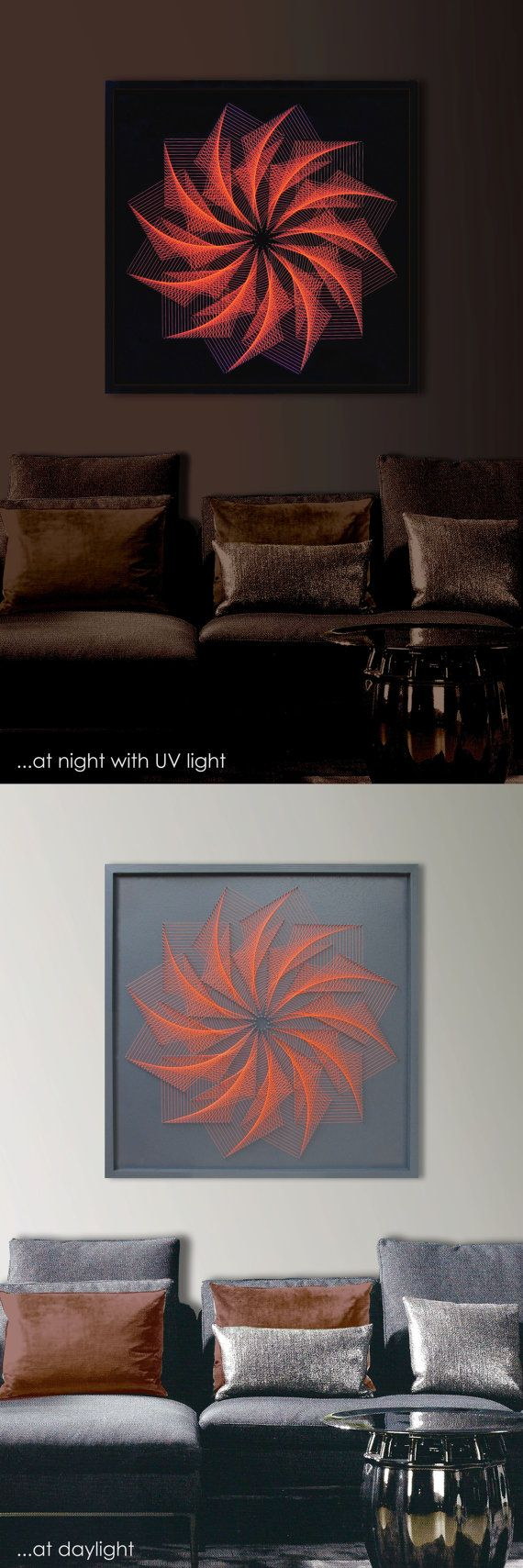 "3D Modern String Art Mandala, Dolphin Gray, Orange, Framed 28,7""x 28,7"" (73x73 cm), UV effect, behind glass, for Office, Home, Club, Bar"