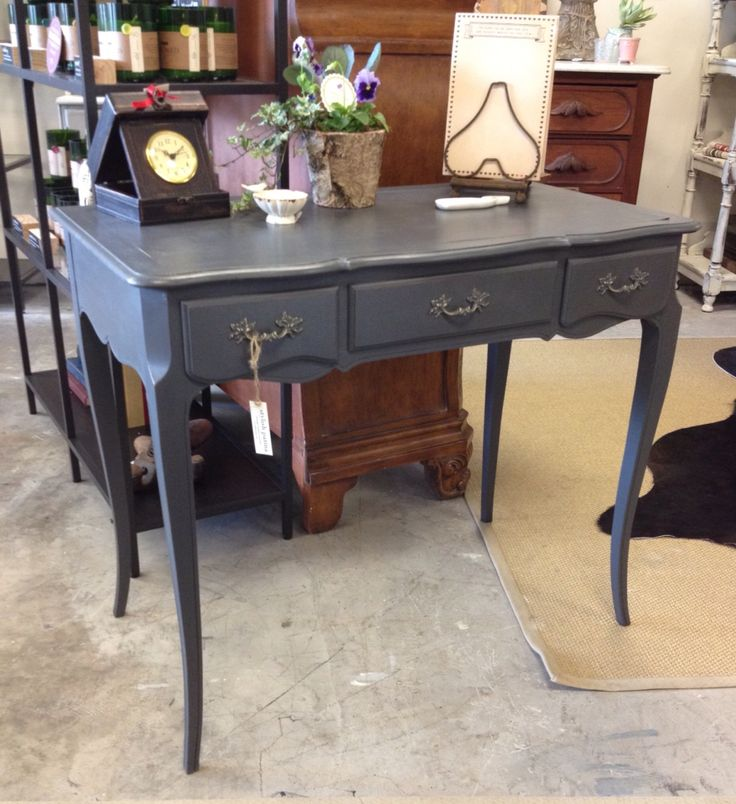 Graphite Chalk Paint On This Vintage Desk By Stylish Patina In Falls Church  Virginia, Www