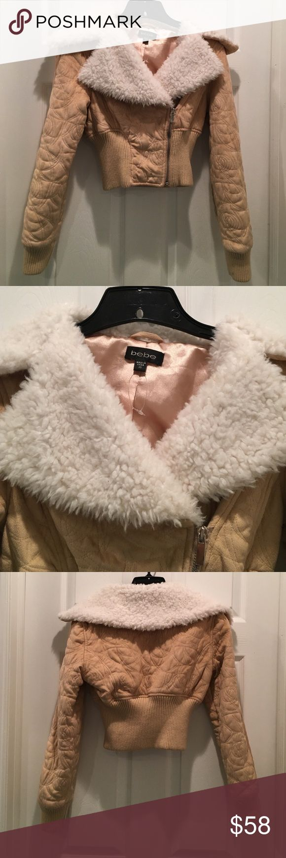 Bebe Fur Crop Jacket Beautiful suede and fur cropped jacket. Perfect for the winter!!! In great condition bebe Jackets & Coats