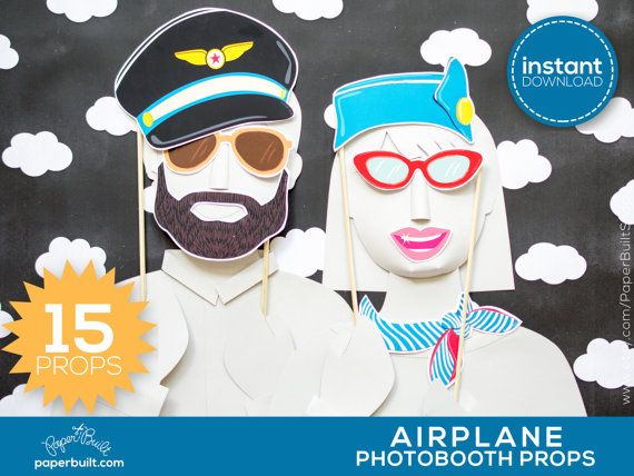 Airplane Party Photo Booth Props Best Birthday by PaperBuiltShop