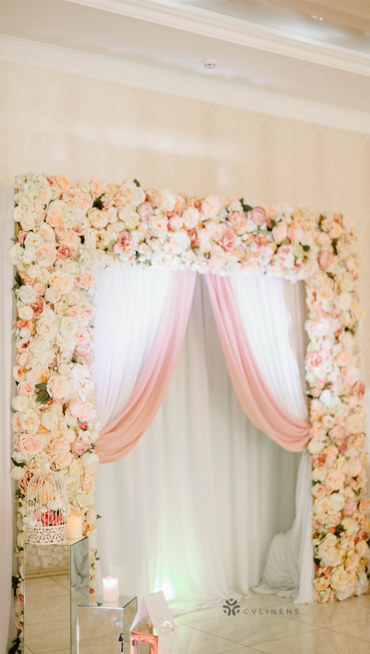 Beautiful Wedding Altar Canopy Drapes Diy Flower Wall Wedding