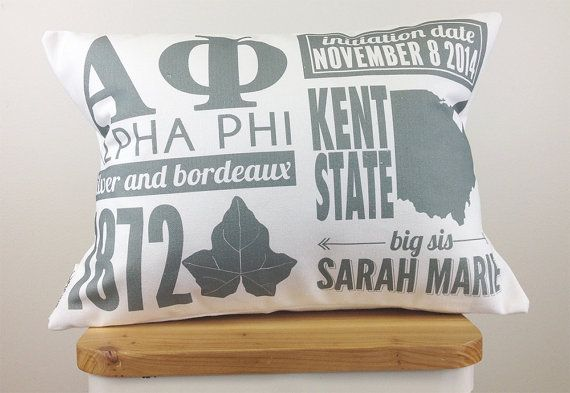 Personalized Alpha Phi Infographic Pillow With Inserts - Sorority Gift - Bid Day Gift