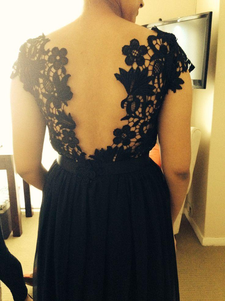 #2014 Black lace and chiffon dress