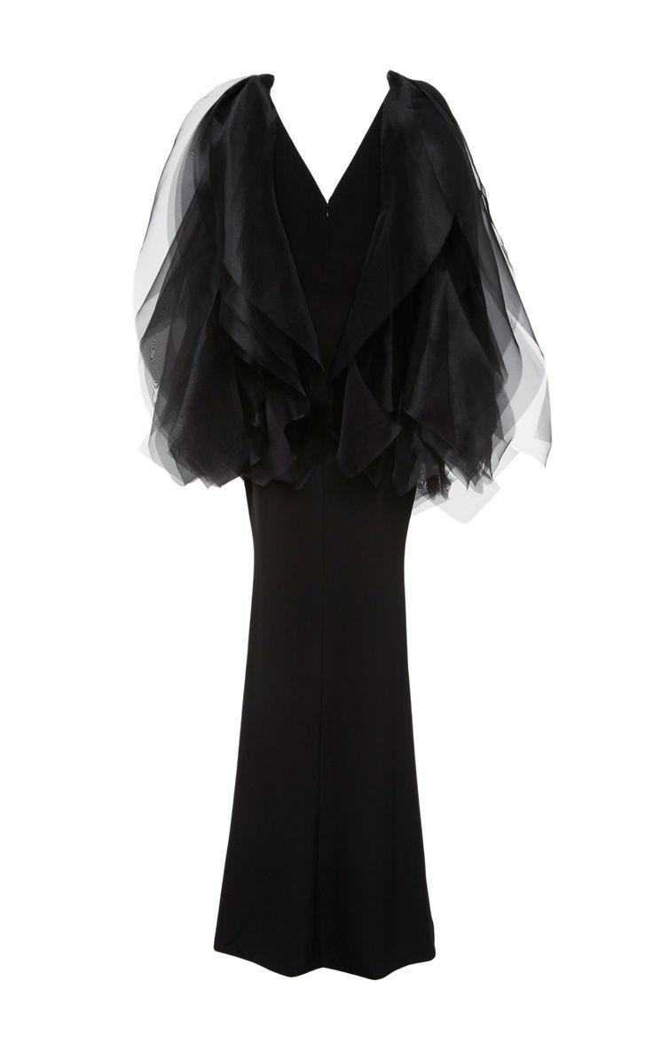 Organza Shoulder Crepe Gown by Christian Siriano | Moda Operandi