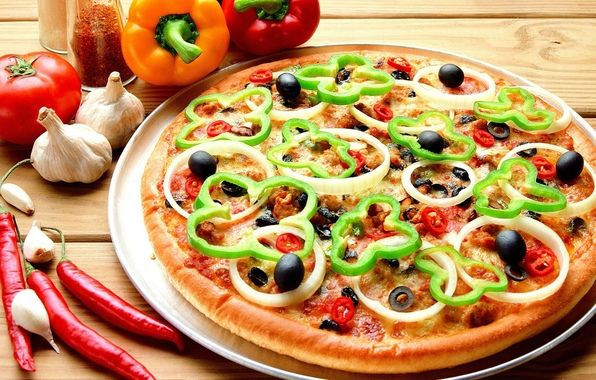 Wallpaper food, food, pizza, tasty, bulgarian pepper, garlic, tomatoes, peppers