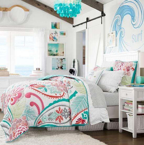 ocean blooms quilt  tropical comforter perfect for teen girls