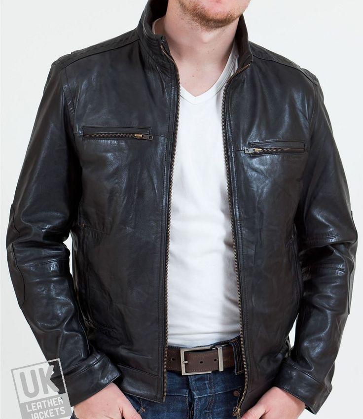 Mens Black Leather Biker Jacket - Monaco | UK LJ